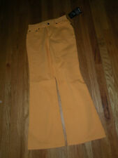 Newport News Jeanology orange cotton low rise flare jeans size 4 NWT 31 inseam