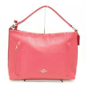 Auth COACH Pebbled Leather Scout Hobo 34312 Red Leather Handbag
