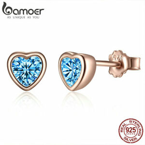 BAMOER S925 Sterling Silver Stud Earrings Dazzling Blue CZ Heart Women Jewellry