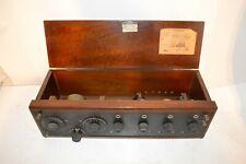 New Listing1920's Crosley Model X Radio Receiver w/Ceramic Tube Sockets, Wood Book Tuners