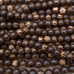 Natural Old Palm Wood Patikan Round Beads Various Sizes