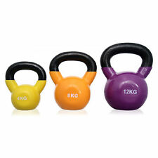 BodyPower™ Toning Vinyl Coated Kettlebell Set - 4kg, 8kg & 12kg Kettle Weights