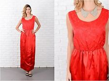Vintage 60s Red Cocktail Party Dress Floral Maxi Sleeveless Medium M
