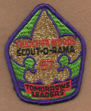 """THATCHER WOODS 1967 SCOUT-O-RAMA """"Tomorrow's Leaders"""" BSA Patch-Unused-Metallic"""