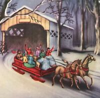 Vintage Art Deco Christmas Greeting Card Sleigh Ride Snowy Night Mid Century