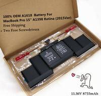"A1618 Genuine Battery MacBook Pro 15"" A1398 Retina (2015Ver) 020-00079 MJLQ2LL/A"