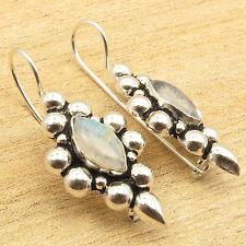 "Moonstone Tibetan Art Earrings 1 3/8"" 925 Silver Overlay Blue Fire Rainbow"