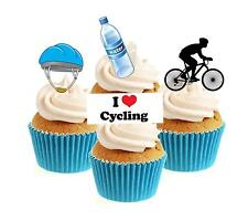 Novelty Cycling Mix 12 Edible Stand Up wafer paper cake toppers birthday bike