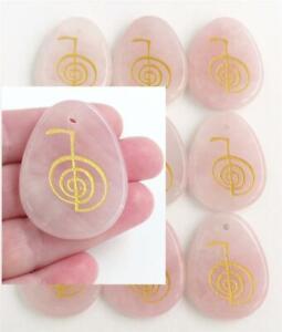 ROSE QUARTZ Crystal Palmstone engraved with Cho Ku Rei symbol Heart Chakra Reiki