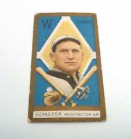 1911 T205 Herman Schaefer Baseball Card Washington Senator Original Tobacco Card