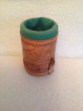 Vintage Leather Bound Game Cup W/Dice