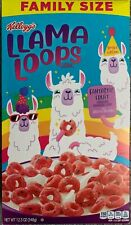 NEW KELLOGGS FAMILY SIZE LIMITED EDITION LLAMA LOOPS CEREAL 12.3 OZ BOX SPARKLES