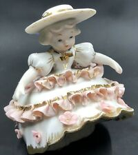 Vintage Lefton Bloomer Girl Figurine Pink Flowers Bows Porcelain #1412