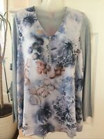 Together Floral Grey Long Sleeve Top New Tags Size L