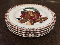 "Sakura Debbie Mumm CHRISTMAS BEARS 8 1/4"" Salad Plates Set Of 4 EUC"