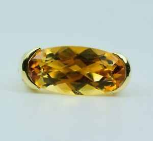 Sonia B. 18k Yellow Gold East West Set Oval Citrine W/ Yellow Sapphires Ring