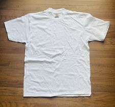 Vintage Oneita Power T-Shirt Size Large Cotton Single Stitch White Blank Jamaica