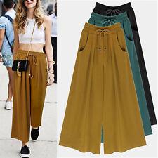 Womens Harem Loose Cotton Elastic Waist Wide Leg Pants Plus Size Casual Culottes