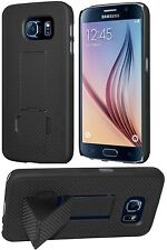 Amzer Shell Snap On Hard Case Cover With Kickstand For GALAXY S6 SM-G920F -Black