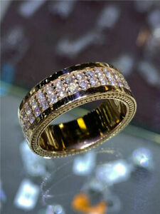 Gorgeous Jewelry 18K Gold Filled Ring White Sapphire Wedding Ring Gift Size 9