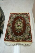 """Hand Knotted Art Deco Aubusson Chinese Rug Plush Wool Carved 90 Line 3"""" x 2"""""""