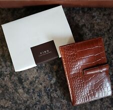 Fino Leatherware Wallet Brown Leather Multi Pocket Credit Cards 4 x 6 NEW in Box