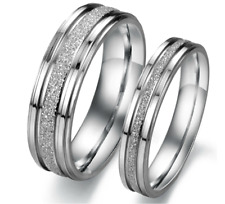 Couple Rings Stainless Steel silver Frosted line Promise rings Valentine gift