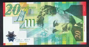 Israel  20  New Sheqalim  2008  UNC  P. 63,   Banknotes, Uncirculated