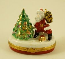 New French Limoges Trinket Box Santa Claus Gifts Decorated Christmas Tree
