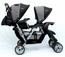 New Mamakiddies Tandem Double Pram Twin Stroller New Born Toddler Baby Jogger