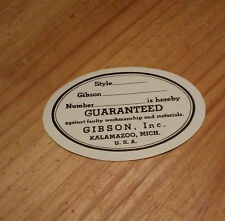 Gibson White Oval Label Sticker 1947 -1955 Vintage