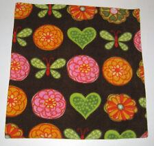 Brown w/ Flowers Fleece Pet - Dog Blanket - Handcrafted 30 x 34 Baby 00006000  Blanket