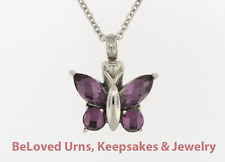 "Fancy Purple Butterfly Cremation Jewelry Pendant Urn Keepsake With 20"" Necklace"
