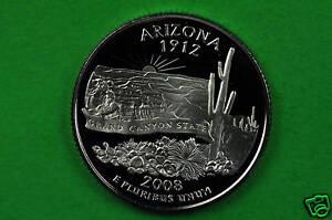 2008-S Deep Cameo SILVER  GEM Proof( Arizona) US Quarter.(90% SILVER)