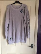 Next Pink Jumper Dress With Embroidery Detail Size 20