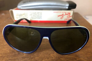 Vintage B&L Ray Ban Blazer Dark Blue/White/Green Tri-Color Sunglasses USA