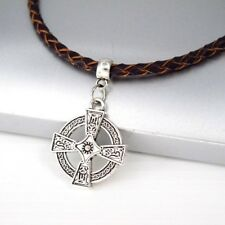Silver Alloy Round Knights Templar Cross Pendant Braided Leather Choker Necklace