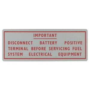 Jaguar E-Type Series 1 Fuel pump warning Placard 3.8 Petrol 1961-64  36-5014