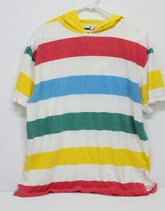 Vintage 1990's Gitano Women's Medium Multi Color Stripped Hooded Shirt
