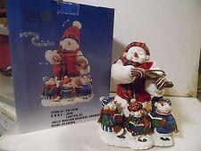 2002 Fiddle Violin Playing Christmas Snowman & 3 little snowkids. Plays Carols.