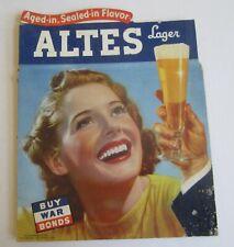 Original Old Vintage 1940's - ALTES Lager BEER - Cardboard ADVERTISING SIGN