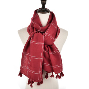 Pale Red Luxury Scarf with White Detail Stitching