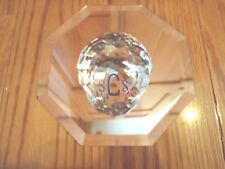 Swarovski Blue Scs Faceted Ball Paperweight with Edelweiss Flower 1987 ~ New Box