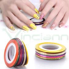 10 rotoli strisce righe adesive striscia rotolo unghie striping striped nail art