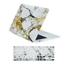 """White/Gold Marble Matte Case + Keyboard Cover for Macbook Air 13"""" A1369 & A1466"""