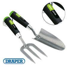 More details for draper 65960 carbon steel heavy duty garden hand fork and trowel 2 piece set