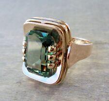 HANDARBEIT 70er Jahre Ring mit synthetischem Turmalin aus 333 Gold (gestempelt)