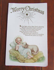 Vintage Holiday Merry Christmas Greeting Lamb Manger Jesus Scene Postcard