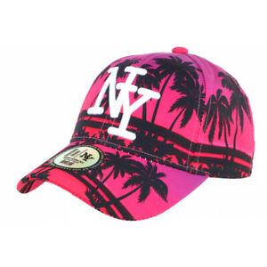 Casquette Enfant Rose et Noire Palmiers Fashion Baseball NY Tropyk 7 a 12 ans-T