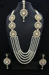 Indian Pearl Bridal Necklace Earrings Wedding Gold Plated Fashion Jewelry Set